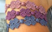 crucani braccialetti ila quadrifoglio cipria viola blu