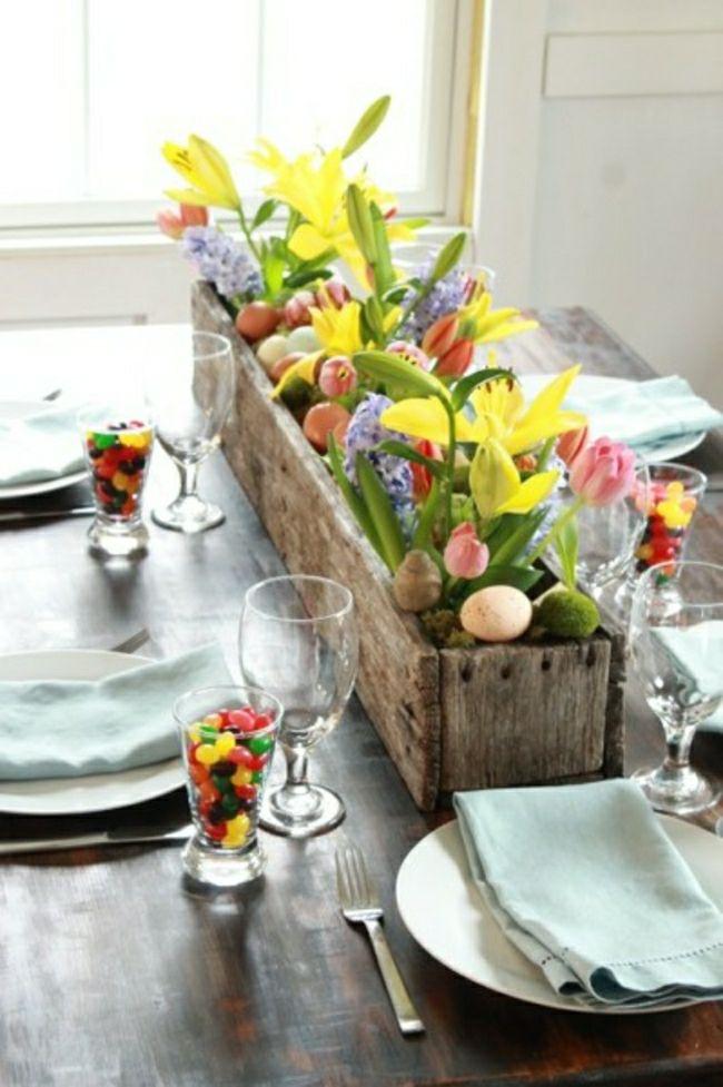 tavola-pasqua-non si dice piacere-uova-fiori-caramelle-centro tavola
