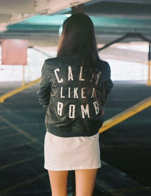 calm like bomb- giacca pelle- personalizzata - chiodo fisso