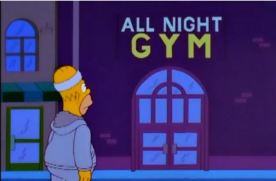 all night gym palestra prova bikini homer simpson