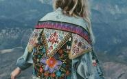 giacca jeans- boho- inverno- decorata hippy chic